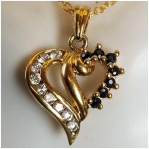 Black Sapphire & CZ, 14K Vermeil Heart Pendant